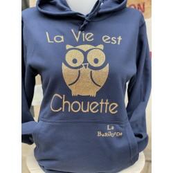 SWEAT A CAPUCHE La Vie est Chouette PAILLETTES
