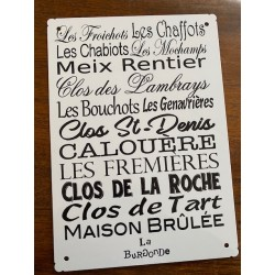 PLAQUE ALU Grands Crus de Morey Saint Denis 20 X 30 CM